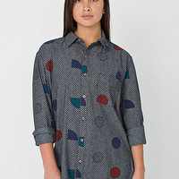 Unisex Printed Chambray Long Sleeve Button Up Shirt