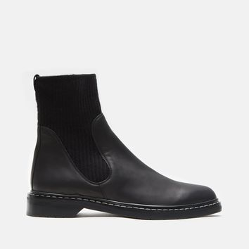 Fara Knit Leather Ankle Boots by The Row- La Garçonne