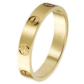 Dubeauty 4mm Love Ring Lifetime Titanium Stainless Steel Couples Wedding Engagement Anniversary Engraved Bands Gold