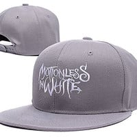 XINMEN Motionless In White Logo Adjustable Snapback Embroidery Hats Caps - Grey