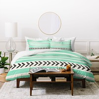 Allyson Johnson Mint Stripes And Arrows Duvet Cover