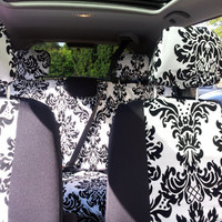 Set of car seat covers; front and rear covers: ENGLISH PRINT damask fabric Universal fit covers