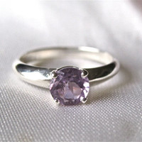Amethyst ring in recycled silver, February birthstone ring, eco-friendly ring, modern ring, silver ring, amethyst jewelry