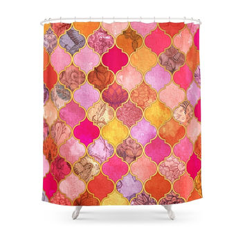 Society6 Hot Pink, Gold, Tangerine & Taupe Decorative Moroccan Tile Pattern Shower Curtains