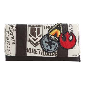 Licensed cool Star Wars Rogue One Patches Ladies Flap Wallet Disney Loungefly Red Squadron NWT