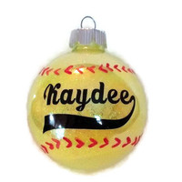 Personalized Softball Christmas ornaments  Hand painted sticthing and Vinyl Lettering!