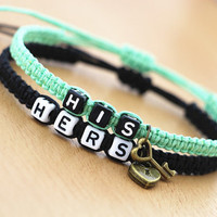 Bracelets ' His ' and ' Hers ' Personalized couples Bracelets Key and Lock charm, Boyfriend Girlfriend, Wedding Anniversary valentine gift