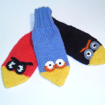 Angry Bird Mittens/ Kids Gloves/ Knitted Mittens Angry Bird/ Children, Toddler Mittens/ Funny Bird