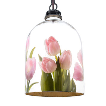 Bell Jar Pendant Light with Pink Tulips