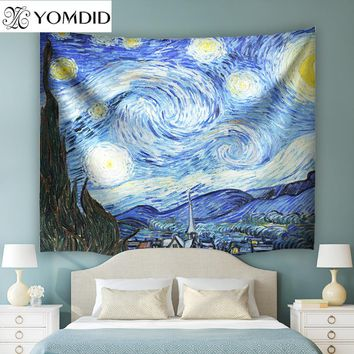 The Starry Night Wall Hanging Tapestries  India style Tapestry Boho Bedspread Table Cloth Beach Towel Yoga Mat Blanket