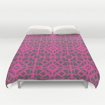 Magenta Gray pattern Duvet Cover by Xiari