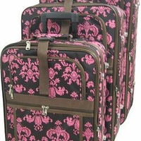 3 Piece Luggage Set Color: Brown/Pink