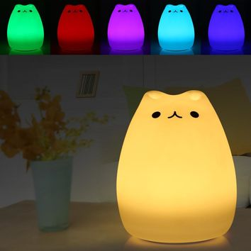 Color Changing Silicone Cat Night Light