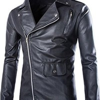 jeansian Men's Fashion Zipper Leather Jacket Coat 9371