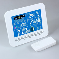 Home Office Use Wireless LCD Display Weather Station Indoor Outdoor Thermometer Humidity Clock