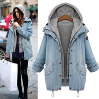 2 Pieces Winter Fashion Denim Coats Hoodie Jackets Oversized Coat