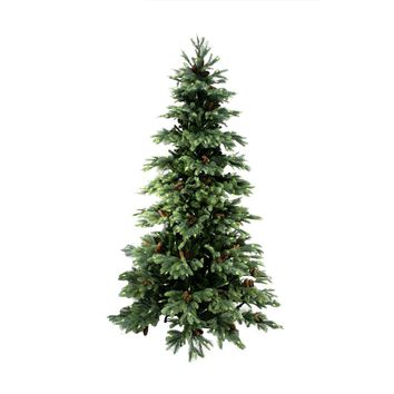 10' Pre-lit New England Pine Medium Artificial Christmas Tree with Pine Cones - Clear Lights