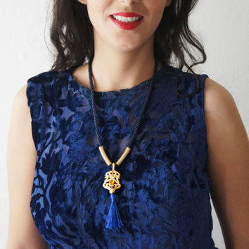 Vintage Pendant 24K gold plating Twisted Rayon blue gold Satin tassel necklace Statement Jewelry  Gold and purple  Free Shipping