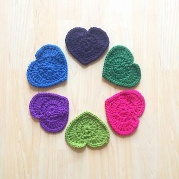 Customizeable heart shaped coasters - set of 5 - choice of royal blue, emerald green, violet, hot pink, apple green, or dark purple