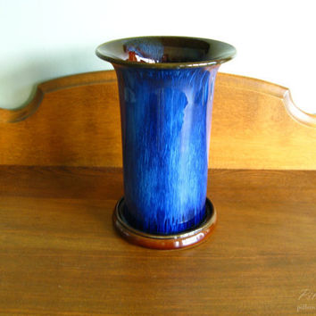 Electric Blue Vase Denby Danesby Ware 30's Vintage by pillowsophi
