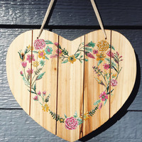 FLORAL PRINT WOODEN sign - hand painted