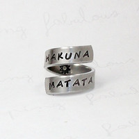 Hakuna Matata Ring, Aluminum Twist Wrap Ring, Inspired Phrase Ring, Best Gift Ring, Hand Stamped Adjustable Aluminum Ring V2
