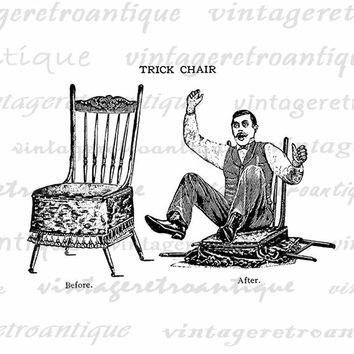 Printable Trick Chair Old Fashioned Cartoon Antique Graphic Download Image Digital Illustration Vintage Clip Art  HQ 300dpi No.1801