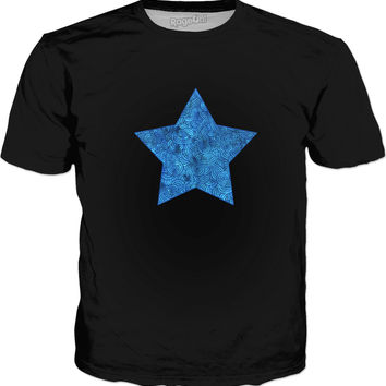 Turquoise blue swirls doodles star Classic T-Shirt Black