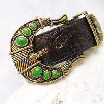 Barse Leather Buckle Bracelet Turquoise Jewelry