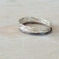 Athena Ring Set in Sterling Silver // Set of THREE Layering Rings // made to order