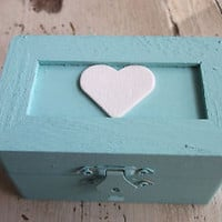 Robin Egg Blue Wedding Ring Box with White Heart