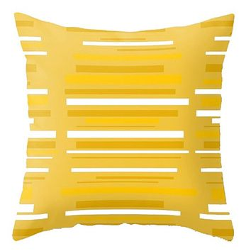 Yellow Striped Outdoor Pillow