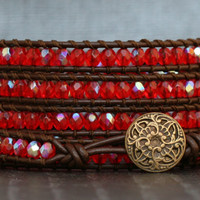 wrap bracelet- scarlet orange red aurora borealis crystal on dark brown leather - boho gypsy bohemian - beaded