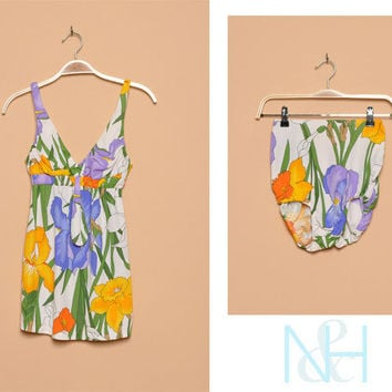 Vintage 1960s Two-Piece Retro Bathing Suit with Floral Print