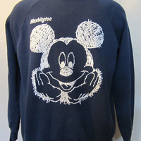 Vintage Amazing 80s MICKEY MOUSE WASHINGTON State Disney Graphic Large 50/50 Oversized Slouchy Sweater Jumper Top