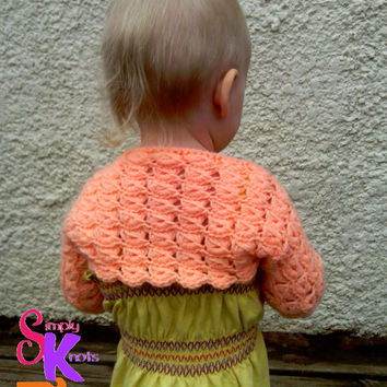Crochet Princess Shrug, Broomstick Lace Shrug, Baby Girl Shrug, Toddler Shrug, Toddler Sweater, Baby Girl Sweater (Made to Order)
