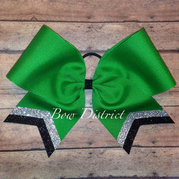 "3"" Kelly Emerald Green Team Cheer Bow with Silver Glitter and Black Glitter Tail Stripes"