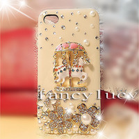 iPhone 4 case iphone 4 cover best iphone 4s case cute iphone 4 case horse cart  Bling flower iphone 4 case crystal iphone 4 case pearls