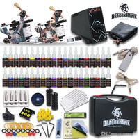 Complete Tattoo Kits 2 Guns Machines 40 Colors Inks Sets 20 Pieces Disposable Needles LCD ELFIN Power Supply HW-8GD-9 USA Dispatch Beginner