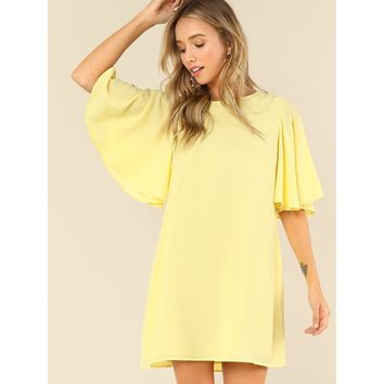 Butterfly Sleeve Solid Swing Dress