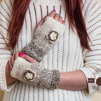 Merino Wool Gloves, Fingerless Gloves With Flowers, Christmas Gift For Her, Soft Arm Warmers for Women, Open Finger Gloves, Ladies Mittens