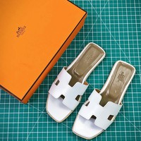 Hermes Oran Sandals With Leather Sole Slip-on White - Best Online Sale