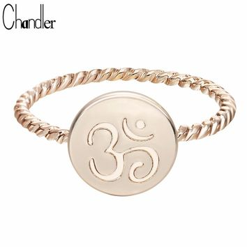Chandler One Piece Gold Color Silver Plated Twist OM Ring Yoga Ohm Om Charm  Meditation Statement Jewelry Fashion Femme Bijoux