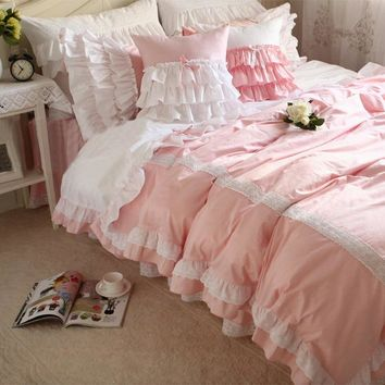 Pink ruffle princess single double bed set teen girl,twin full king queen home textile cotton bed dress pillow case quilt cover