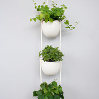 3 Tier porcelain and cotton rope hanging container- medium