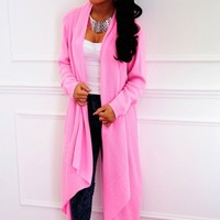 Sherbet Pink Draped Waterfall Cardigan | Pink Boutique