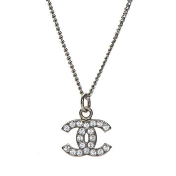 CHANEL Crystal Timeless CC Necklace Silver