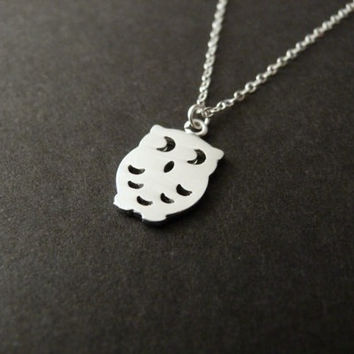 Little Owl Necklace, Cute Necklace, Charm Necklace, Sterling silver chain