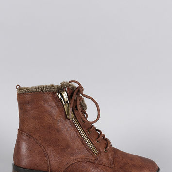 Qupid Shearling Zipper Lace Up Bootie