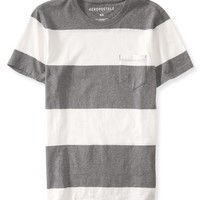 Aeropostale Mens Bar Stripe Pocket T-Shirt